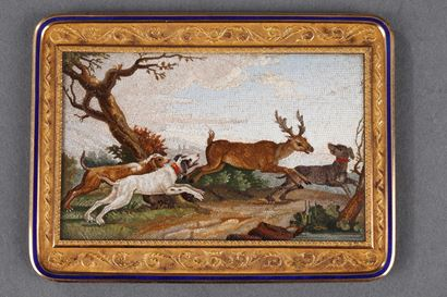 """The stag hunt"". Early 19th century Micromosaic panel. Attributed to A.Aguatti."