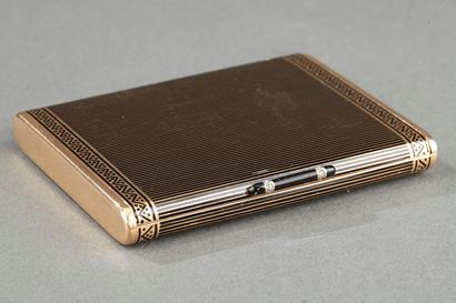 GOLD, ENAMEL AND DIAMOND ART DECO CIGARETTE CASE, BY CARTIER