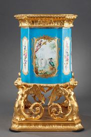 19th century porcelain and ormolu mounted Louis XV style vase.