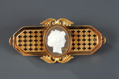 19th Century Gold-mounted and enamel cameo brooch.