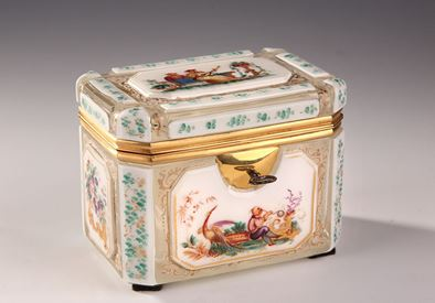 Mid-19th century overlay casket with chinoiseries scenes.