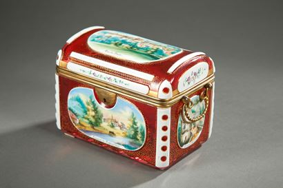 Mid 19th century Bohemian casket with wiews of Baden-Baden.