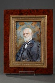Portrait of man on ivory. Late 19th century.