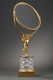 Charles X crystal and gilt bronze mirror with musical system.
