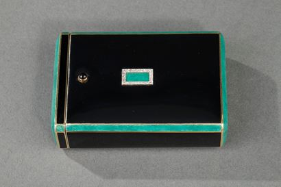 Gold with enamel, diamonds cigarette case.<br/>  Art Deco period.