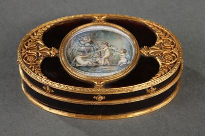 tortoiseshell and Gold Box with Miniature on Ivory.<br>Late 18th century.