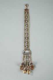CHATELAINE WITH GOLD, ENAMEL, AND PEARLS.<br/>