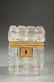 Charles X Jewelry Box in cut crystal and gilt bronze.