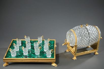 Charles X liqueur set in Creusot cut crystal and malachite.