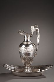 EMPIRE SILVER EWER WITH ITS BOWL BY EDME GELEZ.