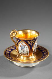 FOUR CUPS SIGNED FEUILLET IN PARIS.