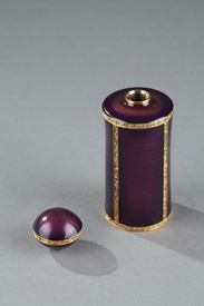 French 19th century Silver-gilt and enamelled flask