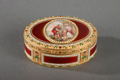 GOLD AND ENAMEL SNUFFBOX.<br/>