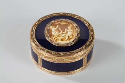 Gold and Enamel Box with Miniature on Ivory.