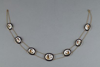 Gold necklace with micomosaic.