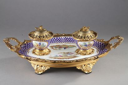 Inkstand in 18th century Sevres porcelain.
