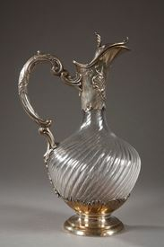 Late 19th Century Cut Crystal and Silver Ewer.