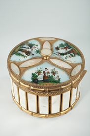 MOTHER OF PEARL AND BRONZE PERFUME BOX WITH ASIAN SCENES; <br/>