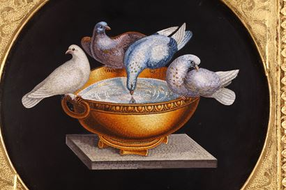 Micromosaic with Capitoline doves. Circa 1830-1840