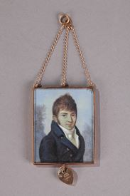 Miniature on ivory, gold and gilded glass.<br/>