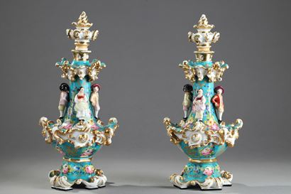 Pair of Jacob Petit porcelain flask. 