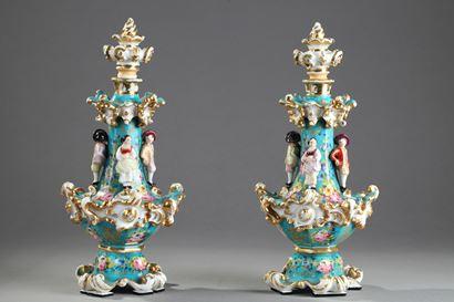Pair of Jacob Petit porcelain flask.  Circa 1830-1840.