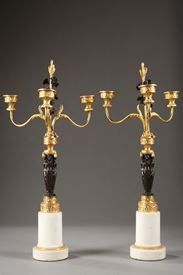 Pair of candelabras in bronze.<br/> Directoire period.