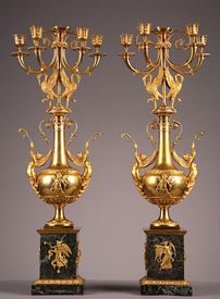 Pair of gilt bronze and marble candelabras.