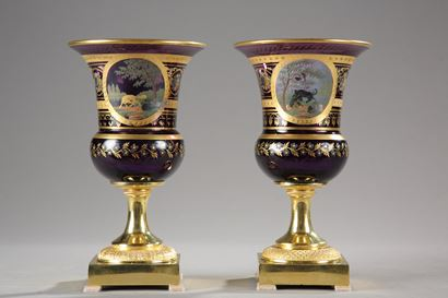 Pair of purple opaline medici Vases