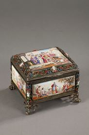SILVER AND ENAMEL BOX.<br/>