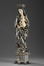 SILVER AND IVORY VIRGIN MARY AND CHILD.<br/>