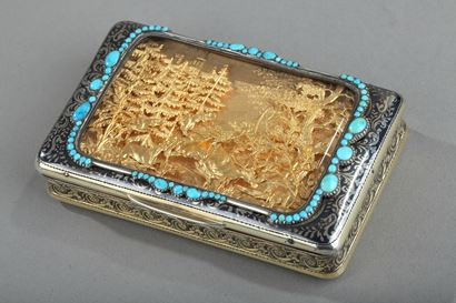 Silver Box with Niello, Gold, and Turquoise.