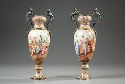 Vienna enamelled vases, mid-19th century.