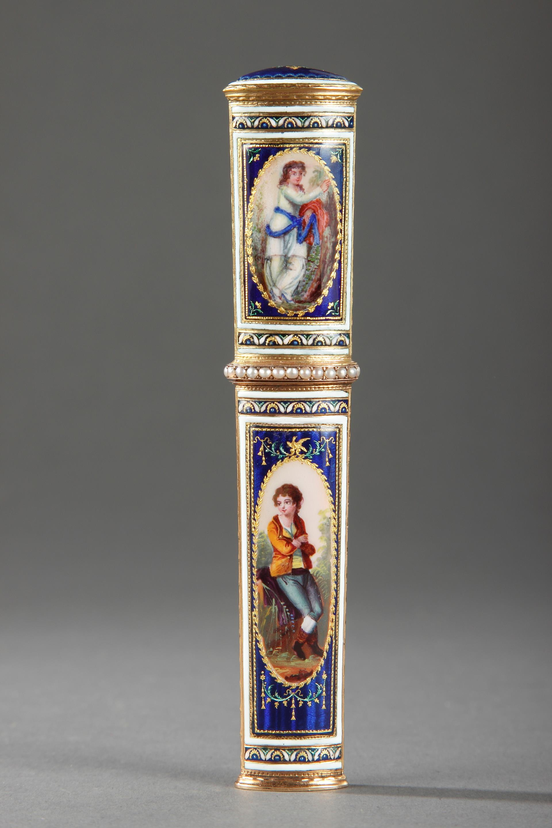 GOLD AND ENAMEL NEEDLE CASE.<br/>