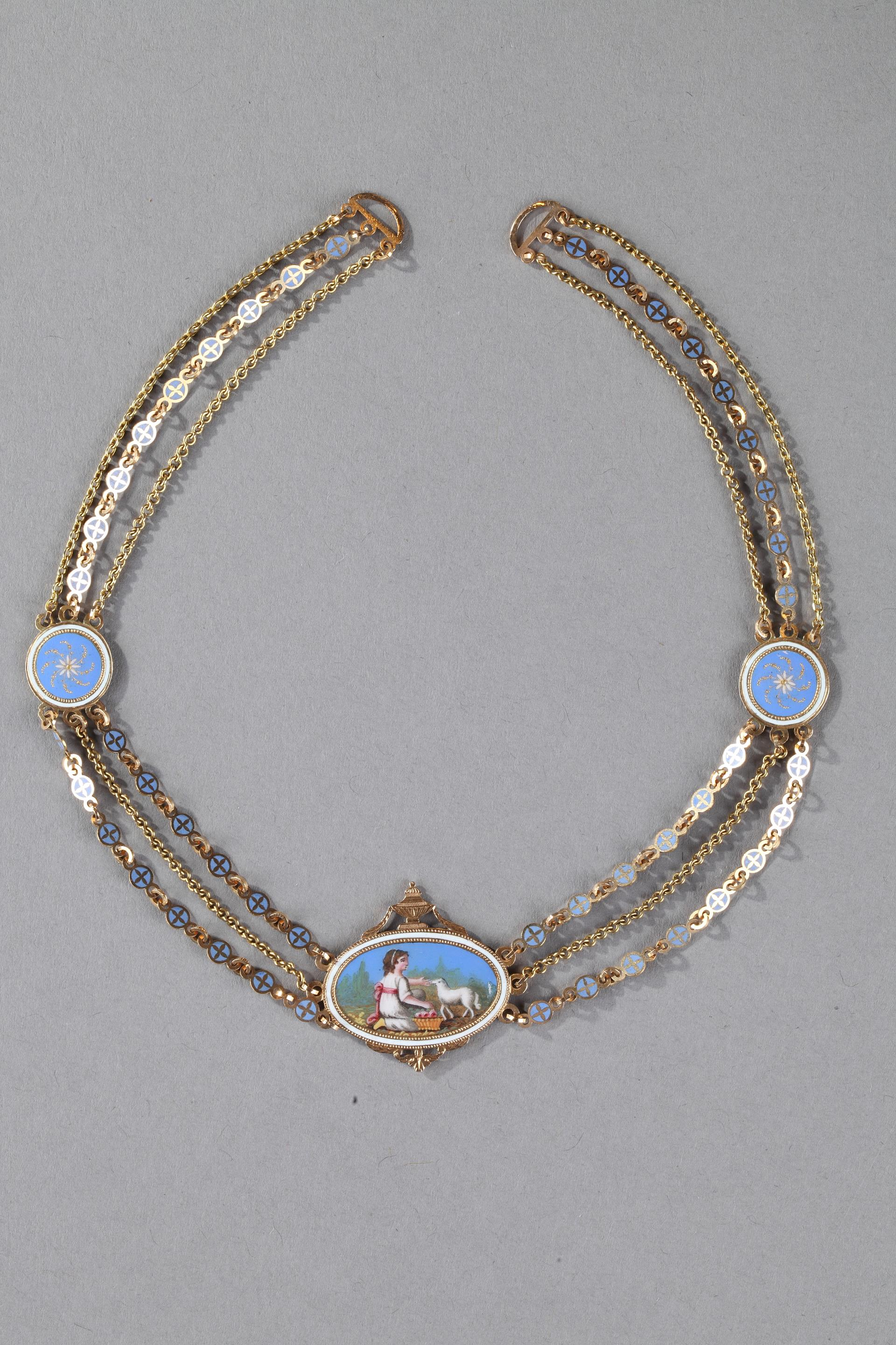 Chain Link Necklace with Gold and Enamel Plates.
