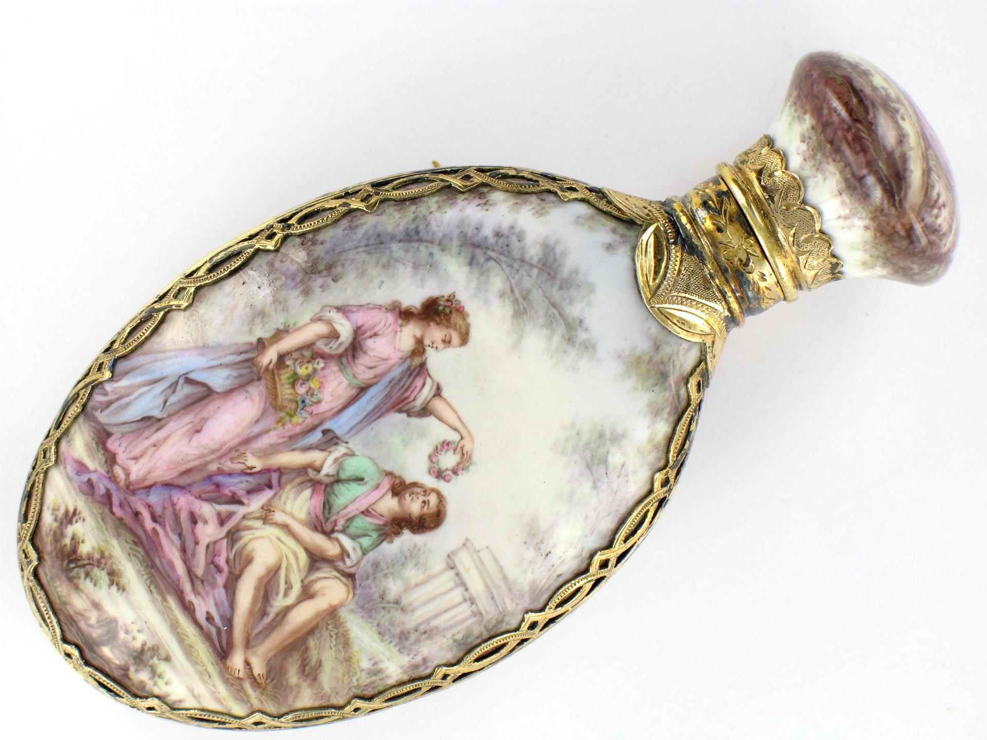 SILVER-GILT AND ENAMEL FLASK.<br/> LATE 19TH CENTURY WORK.<br/>