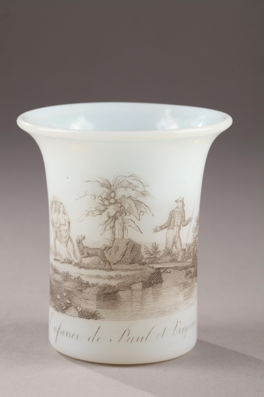 "White Opaline Glass ""Paul Et Virginie"". Charles X."