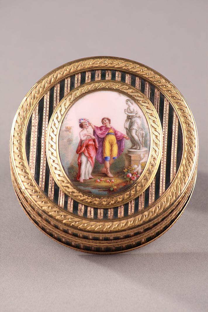 Gold, Enamel, Tortoiseshell and Lacquer Box, Louis XV Period.