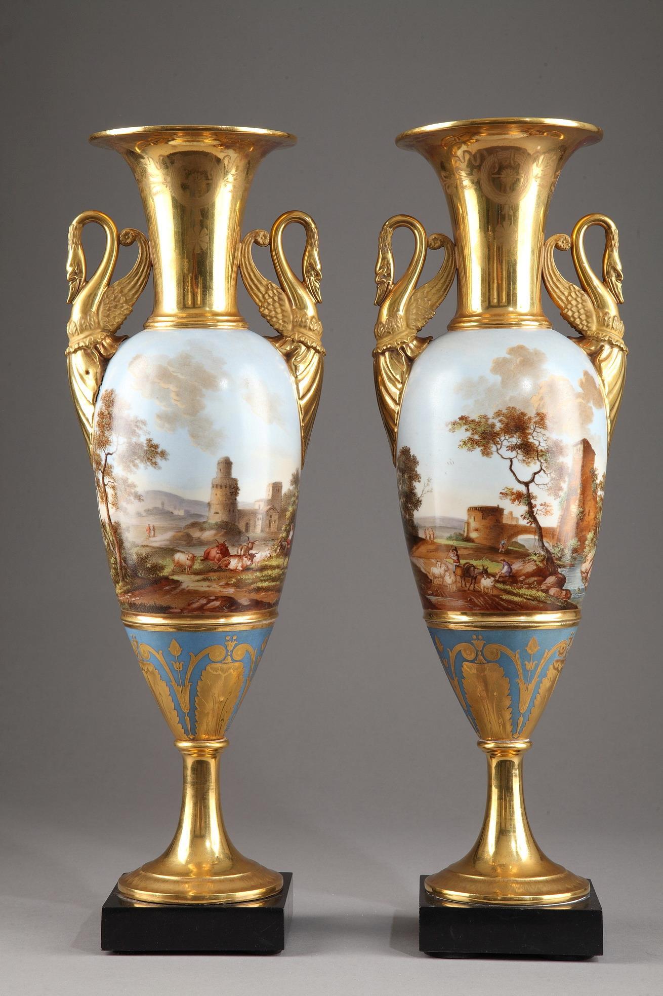 Pair of Large Fuseau Vases in Porcelaine de Paris. Empire Period.
