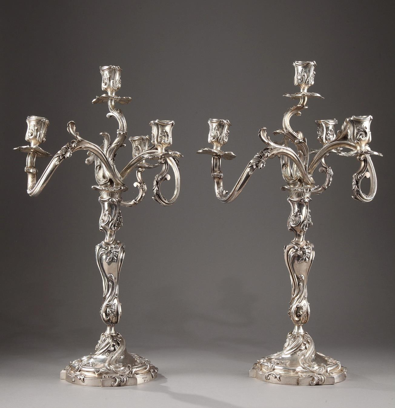 19th Century Silver candelabra Signed BOIN TABURET.