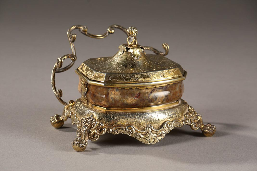 English Silver-Gilt and Agate Inkstand . Circa 1830.