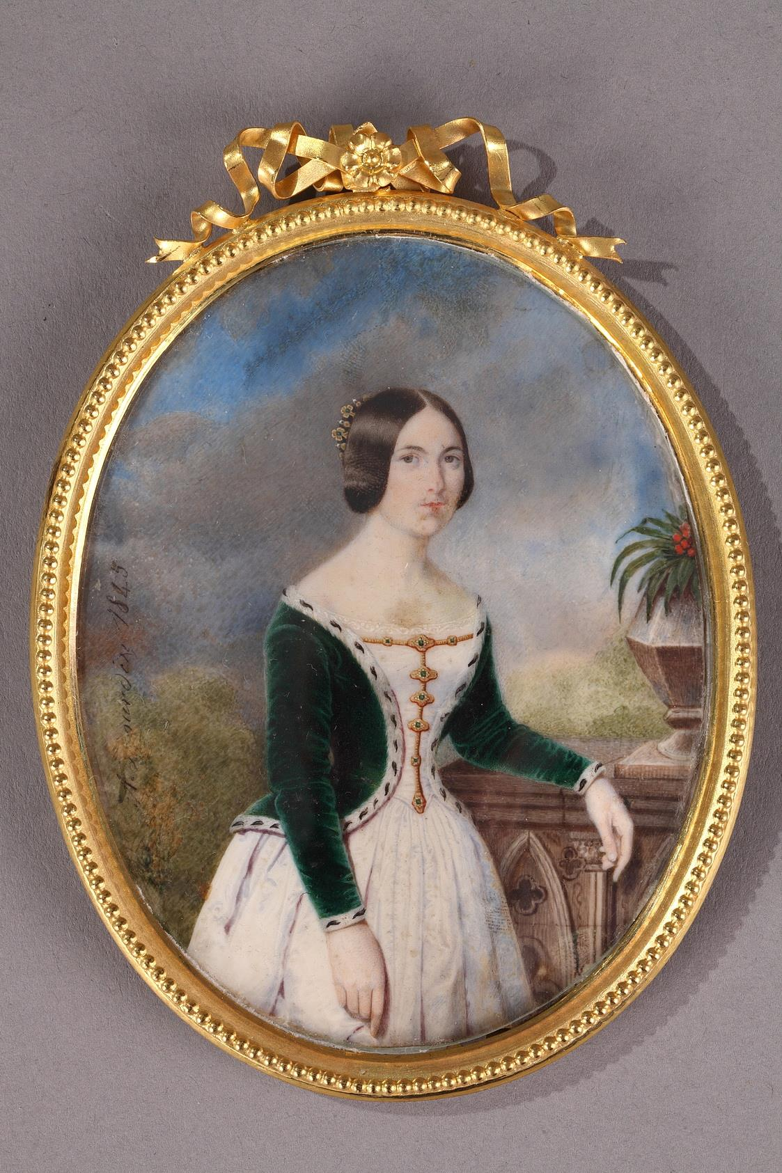 Portrait of a Lady. Miniature on ivory. Signed A.Jourdin. 1845.