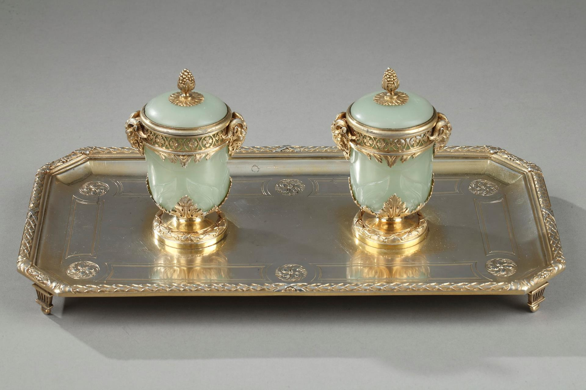 19th century inkstand in silver and jade. Boin Taburet.
