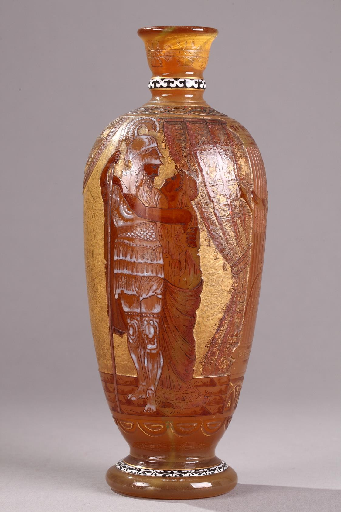 "A wheel-carved and engraved cameo glass vase signed ""B S & Co""., ""VERRERIE D'ART DE LORRAINE."