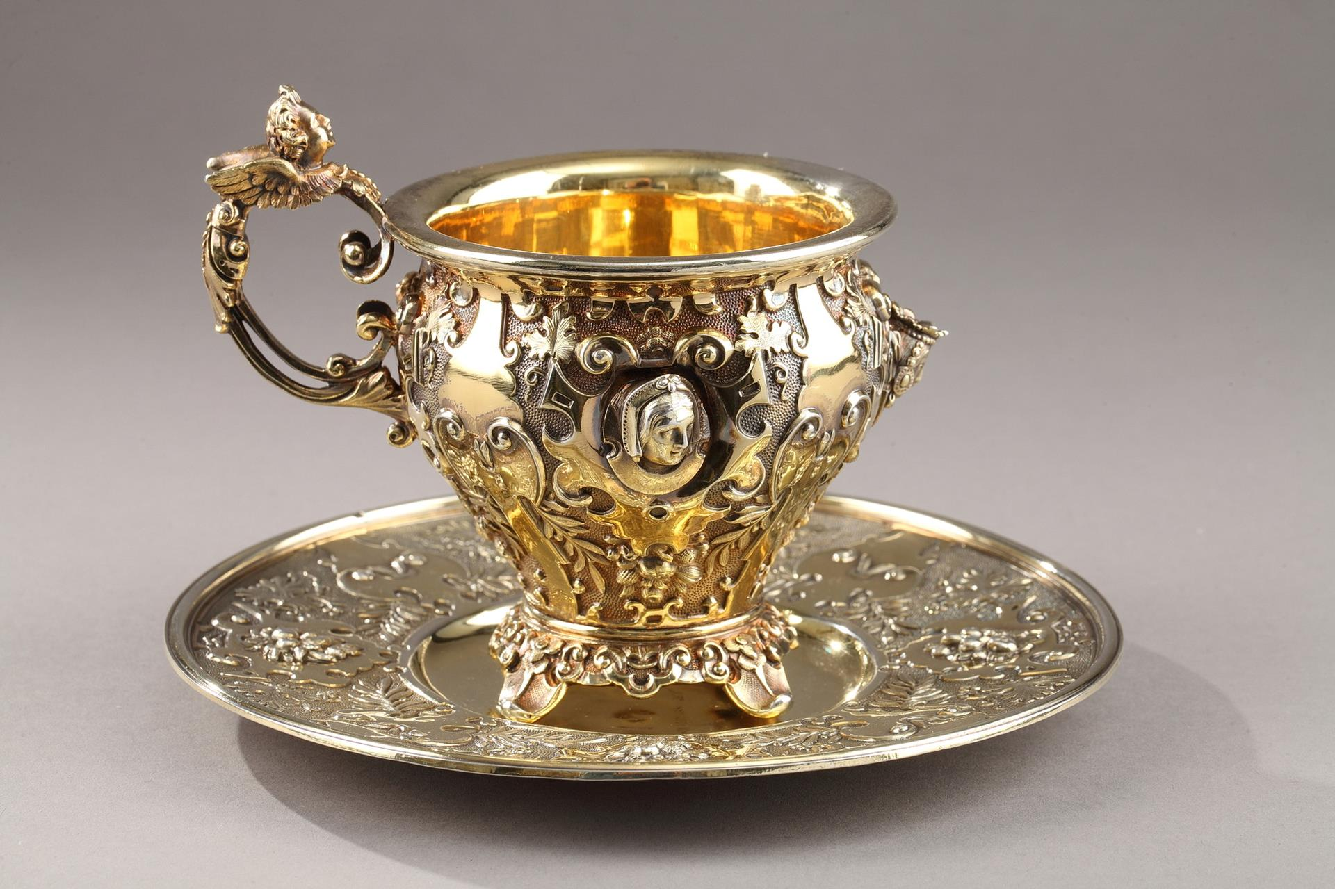French Restauration Silver Cup and saucer.19th Century
