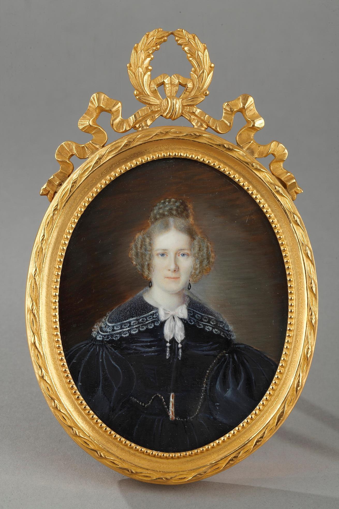 Miniature On Ivory. Portrait Of Woman.  Circa 1830
