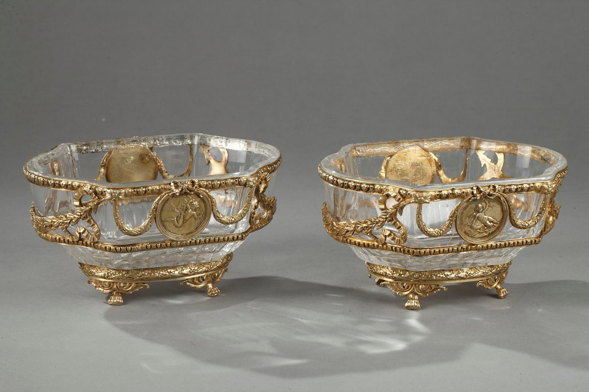 Pair Of Crystal And Vermeil Cup. J-P Legastelois.  19th Century