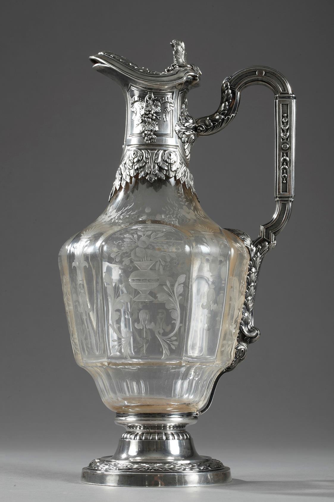 A 19th century crystal silver mounted Ewer. Edouard Ernie Circa 1880