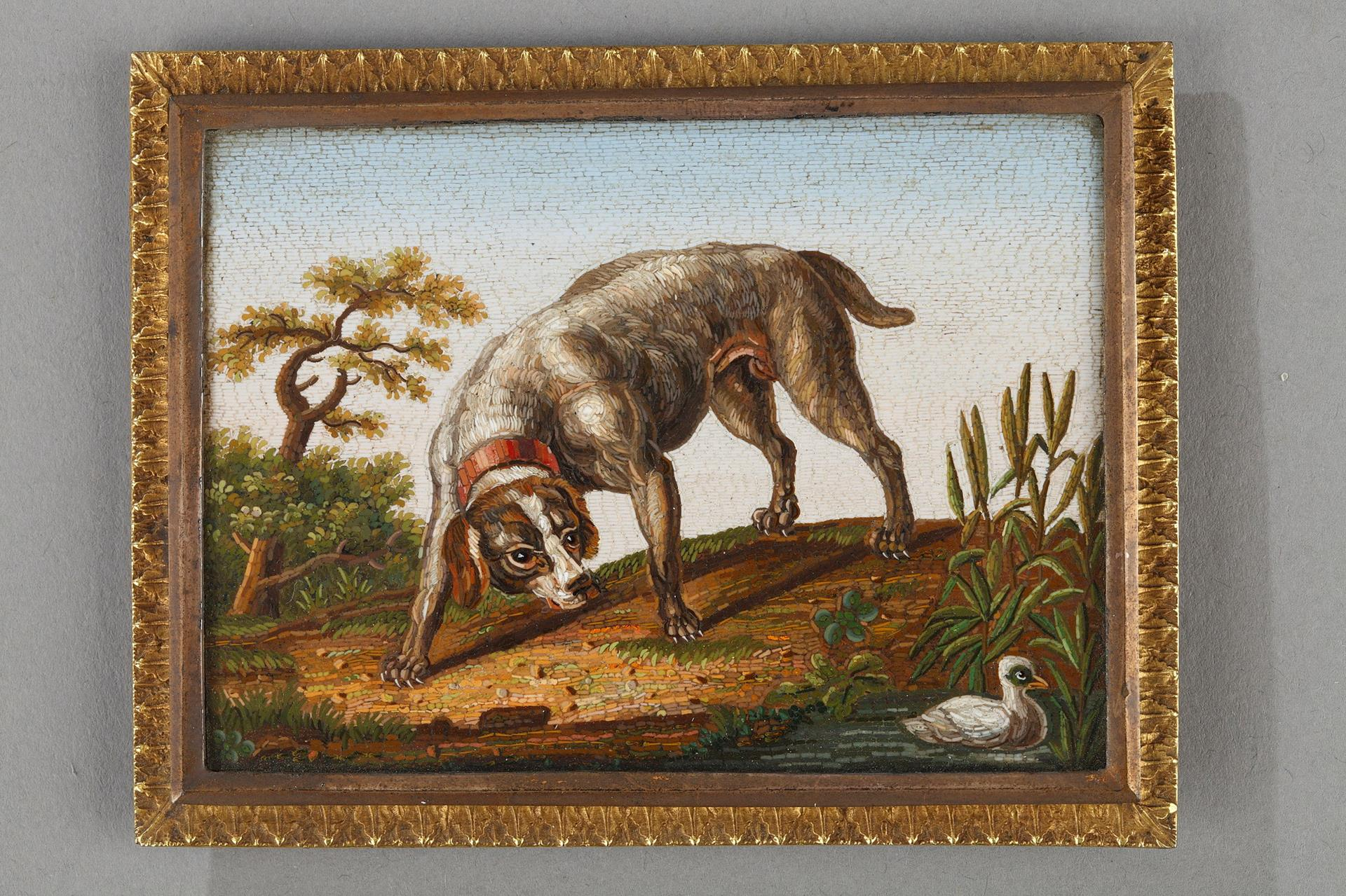 Early 19th Century Micromosaic Dog chasing a duck.  After GIOACCHINO BARBERI.