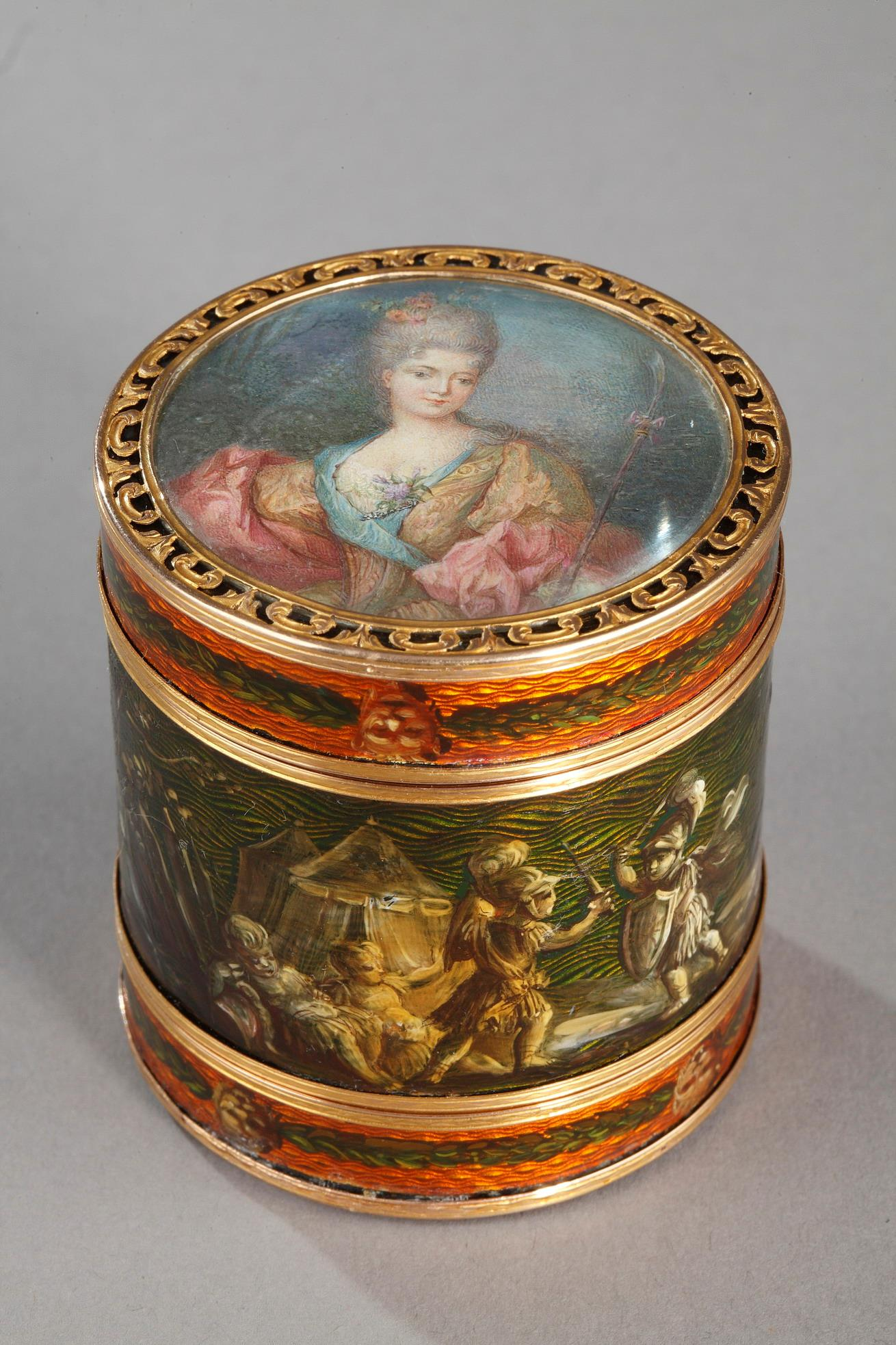 18th Century Box with miniature signed BARDIN and gold.